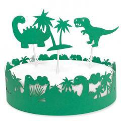 Obroba za torto in 3 topperji, dinozavri