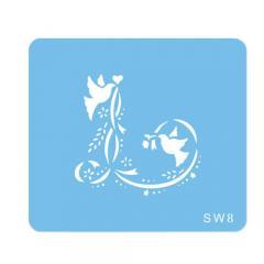 Šablona za dekoracijo golobčka s trakovi