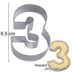 Modelček Številka 6,5cm, rostfrei, št.3