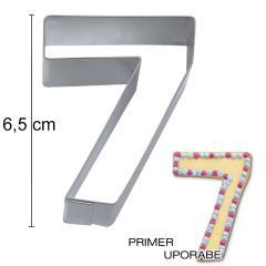 Modelček Številka 6,5cm, rostfrei, št.7