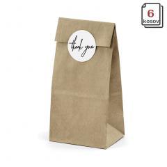 Darilne vrečke, rjave 8 x 6 x 18 cm - 6 kom