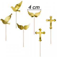 Topper golobček, krila, križ, 6 delni, manjši