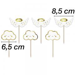 Topper oblakci in krila 12,5 cm, 6 kom