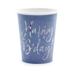 Papirnati kozarci Happy Birthday, modri, 220 ml, 6 kom