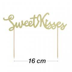Topper za torto Sweet Kisses z zlatimi bleščicami