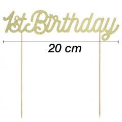 Topper za torto 1st Birthday z zlatimi bleščicami