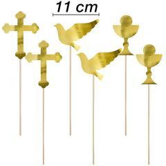 Topper golobček, krila, križ, 6 delni, večji