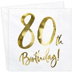 Servieti Happy Birthday, 80 let