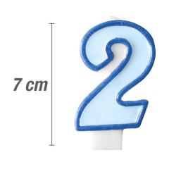 Svečka številka, Modra 7cm, št.2