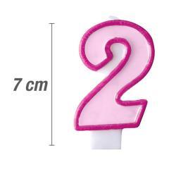 Svečka številka, Roza 7cm, št.2
