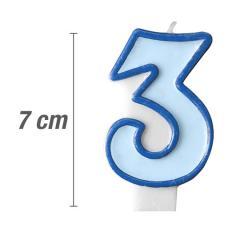 Svečka številka, Modra 7cm, št.3