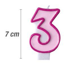 Svečka številka, Roza 7cm, št.3