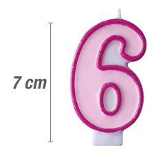 Svečka številka, Roza 7cm, št.6