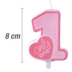 Svečka številka, Roza s srčkom 8cm, št.1