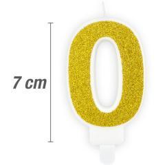 Svečka številka, Zlata z bleščicami 7cm, št.0