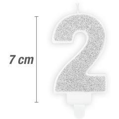 Svečka številka, Srebrna z bleščicami 7cm, št.2