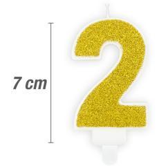 Svečka številka, Zlata z bleščicami 7cm, št.2