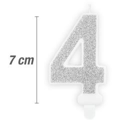 Svečka številka, Srebrna z bleščicami 7cm, št.4