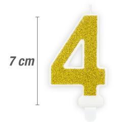 Svečka številka, Zlata z bleščicami 7cm, št.4