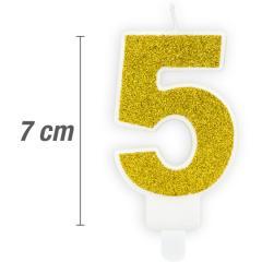 Svečka številka, Zlata z bleščicami 7cm, št.5