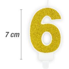 Svečka številka, Zlata z bleščicami 7cm, št.6