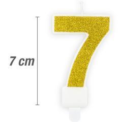 Svečka številka, Zlata z bleščicami 7cm, št.7