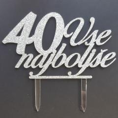Topper za torto Vse najboljše 40