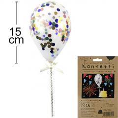 Topper konfeti balon RAZNOBARVNI, 15 cm