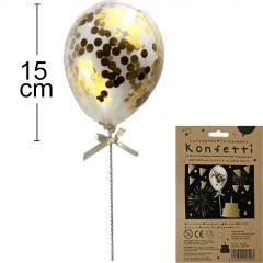 Topper konfeti balon ZLAT, 15 cm