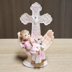 Figurica Sveti Krst, križ z golobčkom , roza