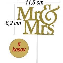 Topper za torto zlat Mr&Mrs, 6 kom
