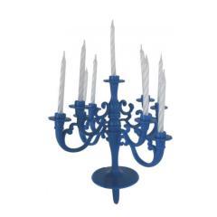 Stojalo za svečke + 9 svečk modro