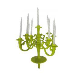 Stojalo za svečke + 9 svečk zeleno